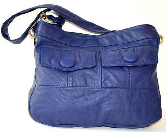 Recycled Catalina Blue Leather Handbag Purse Shoulder Bag Satchel