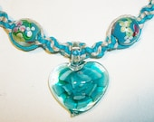 Turquoise Blue Flower of the Heart Hemp Necklace - Lampwork Glass Natural Hemp Jewelry