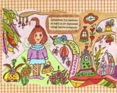 "Fairy Print Whimsical Folk Art ""Impossible Things"", Fairytale, Enchanted, 9 x 6, Vibrant, Flowers, Retro, Bird, Bunny Rabbit, Kitty Cat"