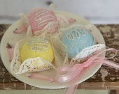 Fake cake vintage shabby roses cottage chic summer fun egg faux cookies roses pastries food prop faux cake bonbons sweet shoppe pastel