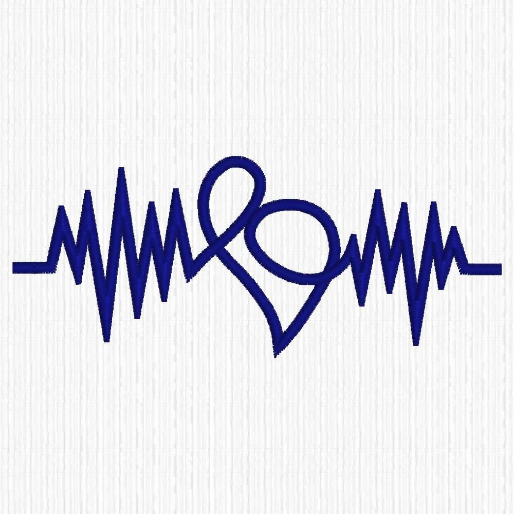Heartbeat ekg with heart machine embroidery design for Heartbeat design