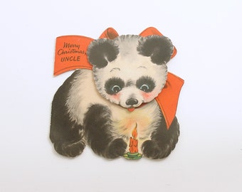 Vintage Christmas Card Panda Children's Card for Uncle