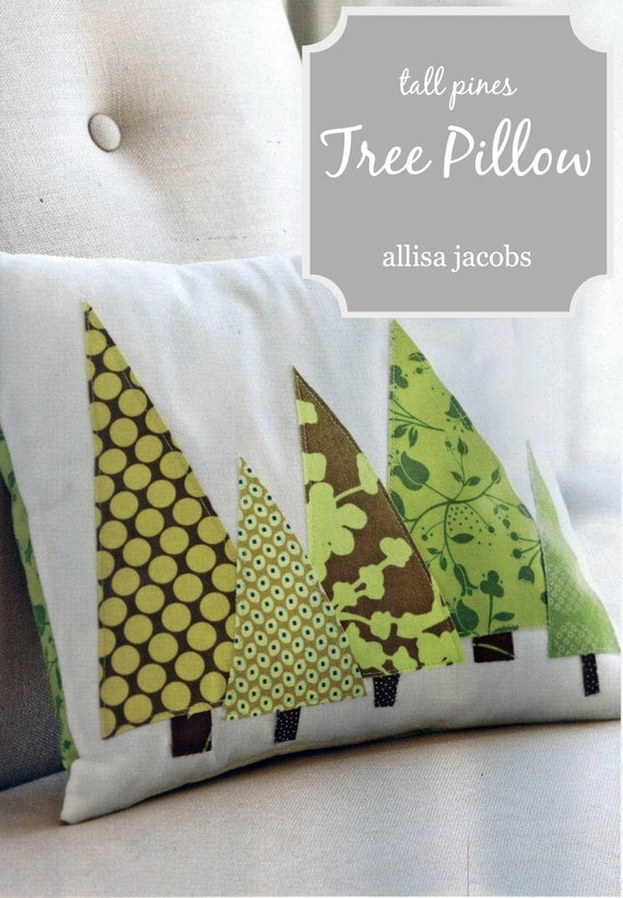 Items similar to Modern Tree PILLOW COVER - Christmas Trees in Green, Tall Pines (Featured in ...