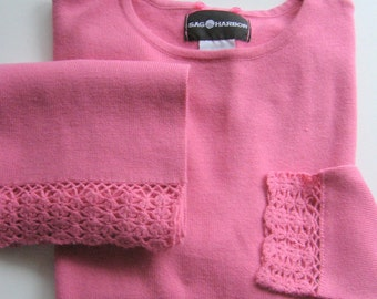Vintage Pink Sweater with Detachable Matching Scarf