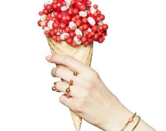 Berries ring- enamel ring- candy ring- open ring