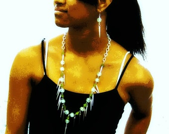 KROBO Recycled Glass Beads with Silver Spike Charms Necklace and Earring Set
