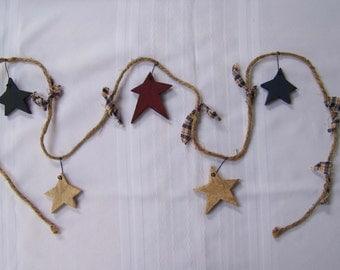 6' Jute Garland with 5 Wooden Stars and Homespun Ties