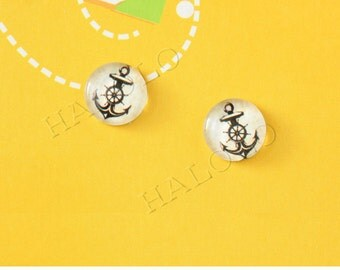 Sale - 10 pcs handmade anchor with wheel  glass cabochons 12mm (12-0050)