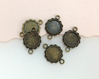 10pcs  antique bronze round gemstones cameo cabochons base setting connectors - for 12mm cab BN400