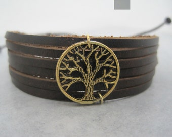 Tree of Life Leather Wrap Bracelet Chinese Cuff