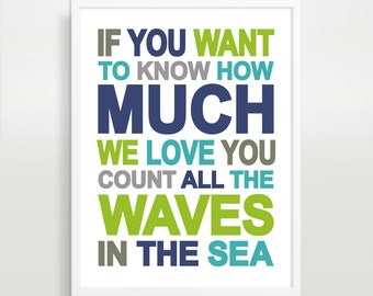 Children's Wall Art / Nursery Decor If You Want to Know How Much I Love You QUOTE 16x20 inch  print by Finny and Zook