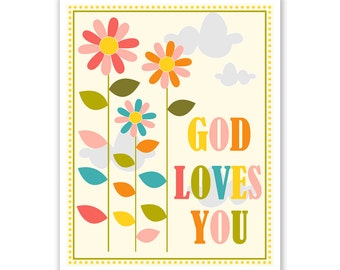 Kids Wall Art / Children's Nursery Decor God Loves You .. print by Finny and Zook