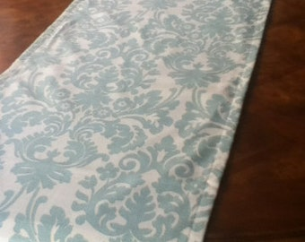 "19"" x up to 82"" Aqua Damask Runner - ready to ship"