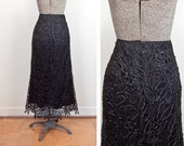 ON SALE SALE Black Silk Battenburg Lace Maxi Skirt