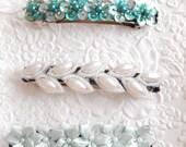 Blue beaded floral barrette, hair barrette, blue hair clip, aqua beaded barrette, blue floral barrette, something blue for a wedding