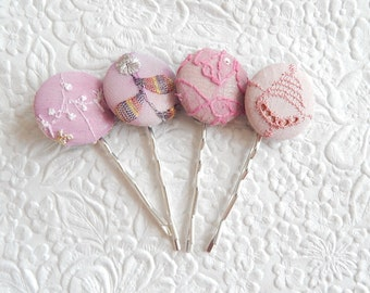 4 mauve hair-pins, embroidered hairpins, fabric hairpins, 1 1/8 inch hairpins, hair accessory, womens accessory
