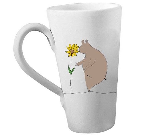 Gentle bear tall pottery coffee mug latte sunflower Made to order choose color of bear
