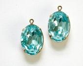 Vintage Faceted Aquamarine Stones 1 Loop Brass Ox Setting 18x13mm ovl015UU