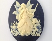 Ivory Fairy with Wand on Black Cameo Acrylic Cabochons 40x30mm (2) cab842C