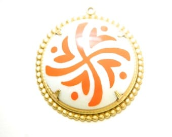 Pop Color Orange Design Cab in Brass Findings Earrings or Pendant  (2) pnd166D