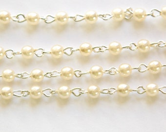 Creme Pearl Czech Glass Bead Chain Silver Links 4mm chn155