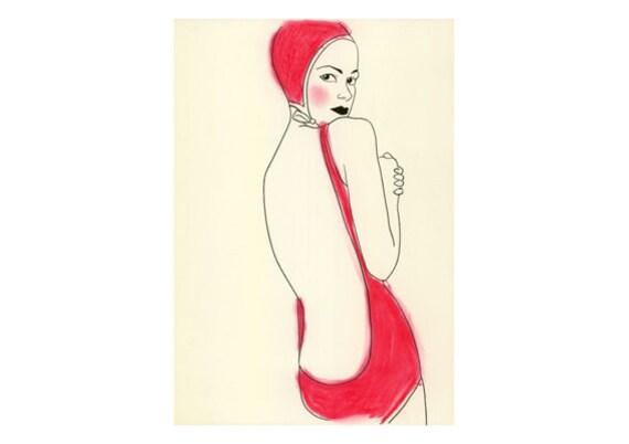 Art Deco Flapper Fashion prints SALE GIFT SET Pretty in Pink  -  5 different prints