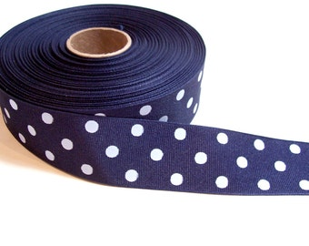 Blue Ribbon, Navy Blue and White Swiss Dot Grosgrain Ribbon 1 1/2 inches wide x 10 yards, SECOND QUALITY FLAWED
