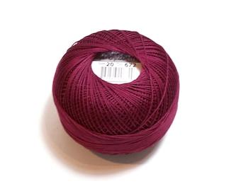Tatting Thread, Lizbeth Size 20 Cotton Crochet Thread, Burgundy, Color number 672, Burgundy Thread