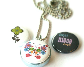 Niece Necklace Locket  - BEST Niece Jewelry, Magnetic, Interchangeable, Recycled, Butterfly, Flower, Silver Steel Small Locket by Polarity