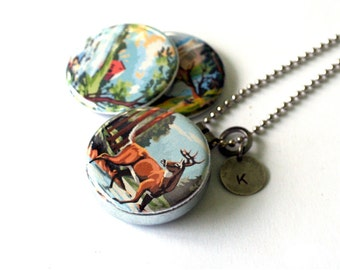 Paint by Number Retro Locket Necklace, Paint by Number Jewelry, Paint by Number Vintage Art Necklace, Magnetic, Recycled Steel, Polarity