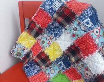 Quilt Crib Nursery Decor Plaid Lap Blanket Owl Rag Red Blue Yellow Green Boy Girl