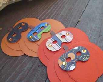 Who is that masked Pumpkin Layered Embellishments Set of 4. Halloween. Scrapbooking. Paper Crafts. Goodie Bag Tag