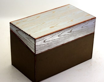 SALE Recipe Box Wedding Box Silver Faux Bois Fits 4x6 Cards Ready To Ship