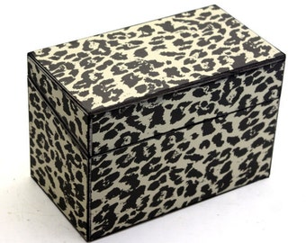 Recipe Box Cream and Black Cheetah Leopard Print Fits 4x6 Cards Ready To Ship
