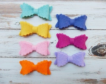 SMALL Scalloped Wool Felt Bows  - Flora Collection - Set of 14 - NEW Sizes Available