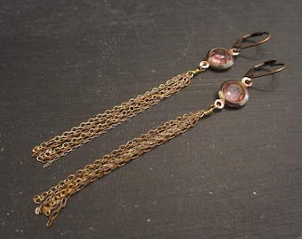 SALE Pink vintage connectors with multicolor chain earrings Cascade