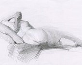 Original Drawing Nude  Female Graphite Figure Sketch - Woman Reclining
