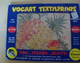 VOGART TEXTILPRINTS  Vintage hot iron transfer patterns #26  unopened
