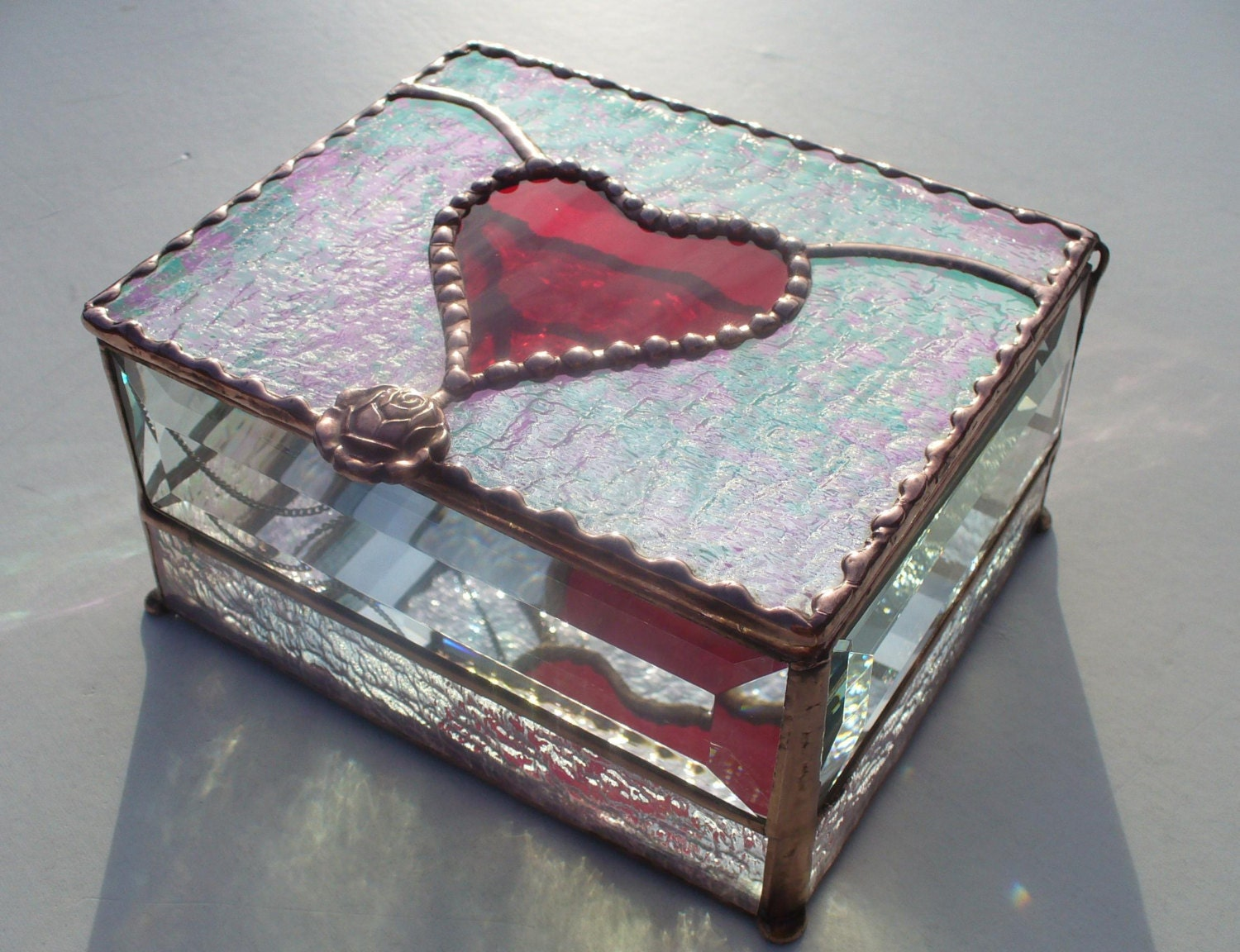 Heart box heart jewelry box stained glass jewelry box your for Heart ring box