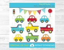 Car Truck Transportation Clipart Colorful Cars Clip Art PERSONAL USE Instant Download