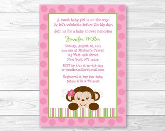 Cute Pink Monkey Baby Shower Invitation / Monkey Baby Shower Invite / Pink & Green Monkey / Baby Girl Shower / PRINTABLE