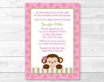 Cute Pink Monkey Baby Shower Invitation / Monkey Baby Shower Invite / Pink & Green Monkey / Baby Girl Shower / PRINTABLE A336