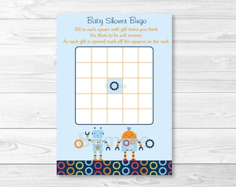 Robot Baby Bot Baby Shower Bingo Cards INSTANT DOWNLOAD