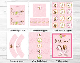 Pink Safari Jungle Animal Birthday Party Package INSTANT DOWNLOAD