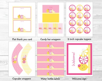 Cute Pink Lemonade Birthday Party Package / Pink Lemonade Birthday Decorations / Lemonade Birthday Party / Pink & Yellow / INSTANT DOWNLOAD