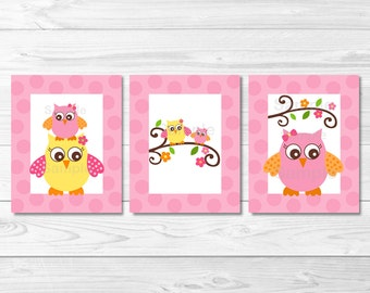 Girl Owl Pink Woodland Owl Nursery Wall Art Instant PRINTABLE Instant Download