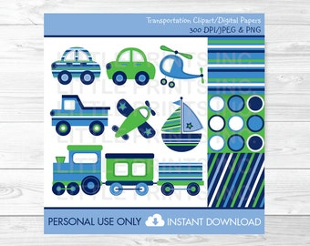 Trains & Planes Car Sailboat Airplane Helicopter Transportation Vehicles Clipart / Digital Paper Blue Green PERSONAL USE Instant Download