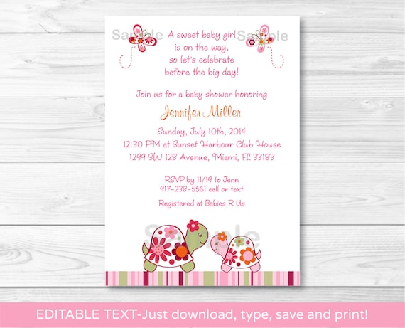 Pink Turtle Baby Shower Invitation / Turtle Baby Shower Invite / Tropical Baby Shower / Baby Girl Shower / INSTANT DOWNLOAD Editable PDF