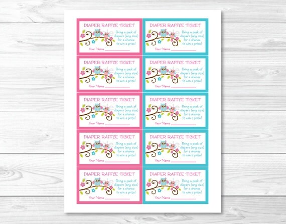 Pink owl blossom printable baby shower diaper raffle tickets ebay these adorable diaper raffle tickets are the perfect baby shower activity simply insert one along with your baby shower invitation pronofoot35fo Image collections