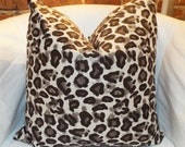 "20"" x 20"" brown and linen color animal print pillow cover"